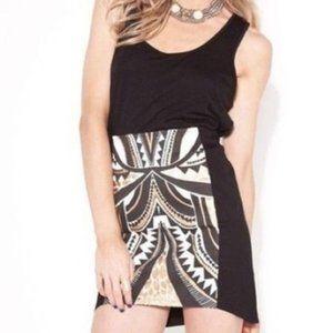 sale / MINKPINK black gold tribal high low skirt